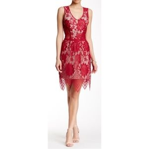 New Tart Collection Lila Lace Overlay Dress Red XS